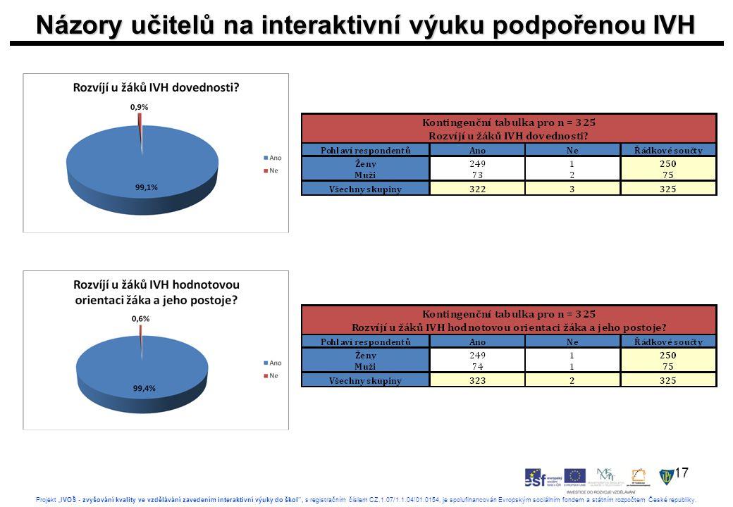 """17 Projekt """"IVOŠ - zvyšování kvality ve vzdělávání zavedením interaktivní výuky do škol , s registračním číslem CZ.1.07/1.1.04/01.0154, je spolufinancován Evropským sociálním fondem a státním rozpočtem České republiky."""