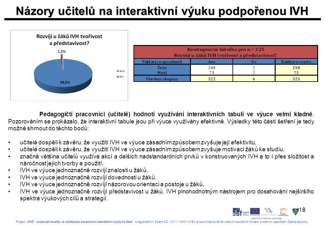 """18 Projekt """"IVOŠ - zvyšování kvality ve vzdělávání zavedením interaktivní výuky do škol , s registračním číslem CZ.1.07/1.1.04/01.0154, je spolufinancován Evropským sociálním fondem a státním rozpočtem České republiky."""