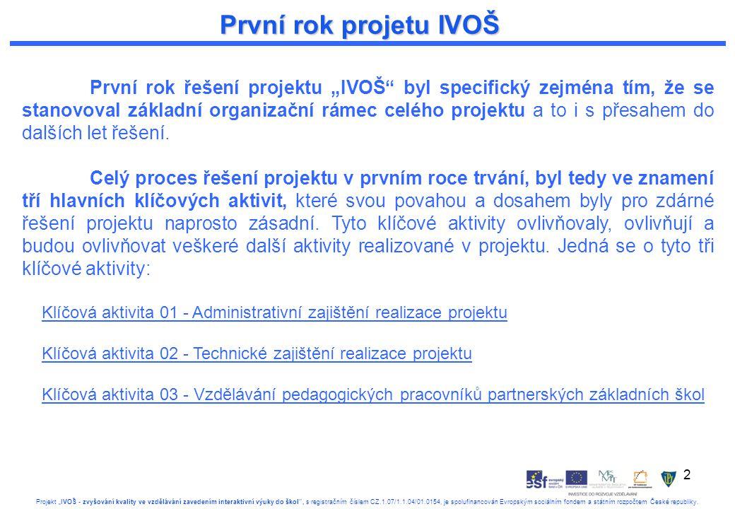 """2 Projekt """"IVOŠ - zvyšování kvality ve vzdělávání zavedením interaktivní výuky do škol , s registračním číslem CZ.1.07/1.1.04/01.0154, je spolufinancován Evropským sociálním fondem a státním rozpočtem České republiky."""