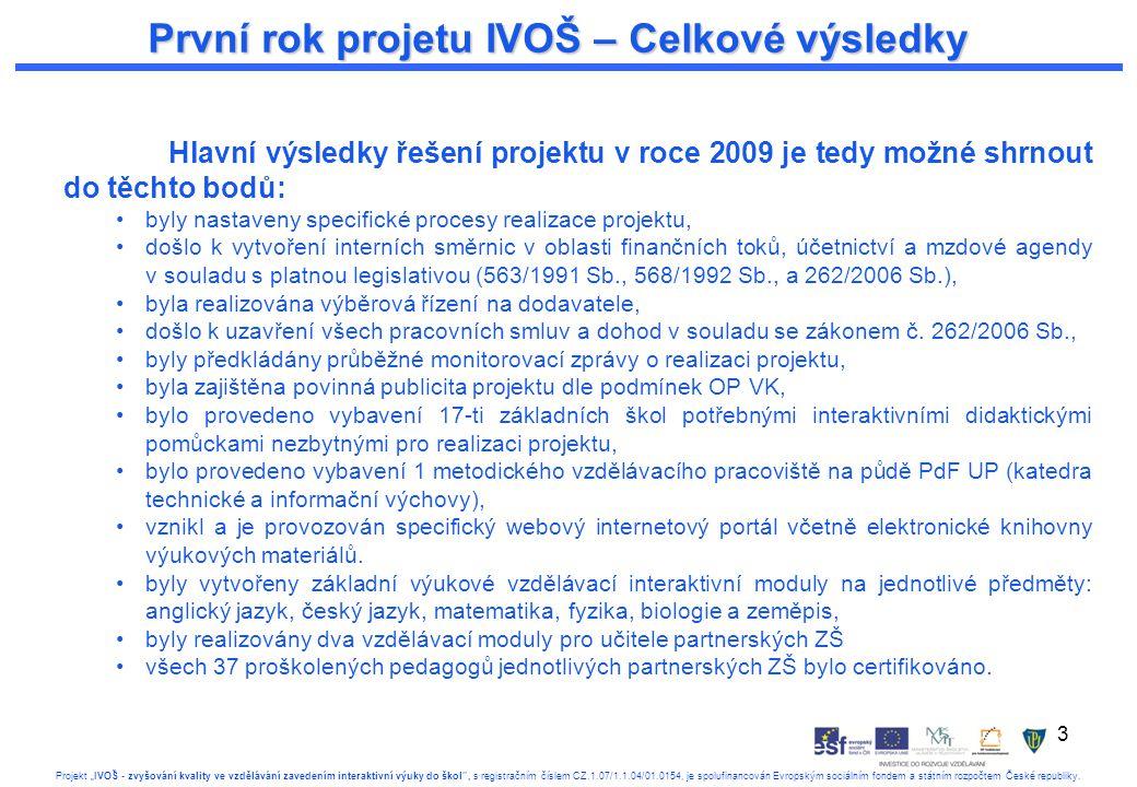 """3 Projekt """"IVOŠ - zvyšování kvality ve vzdělávání zavedením interaktivní výuky do škol , s registračním číslem CZ.1.07/1.1.04/01.0154, je spolufinancován Evropským sociálním fondem a státním rozpočtem České republiky."""