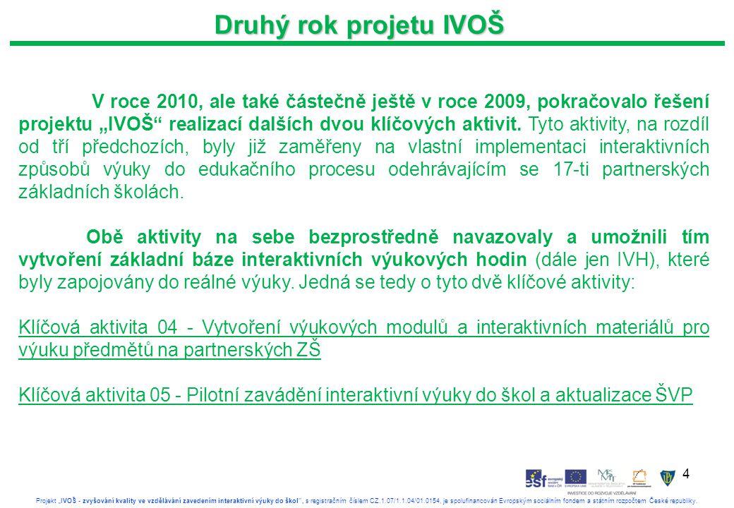 """4 Projekt """"IVOŠ - zvyšování kvality ve vzdělávání zavedením interaktivní výuky do škol , s registračním číslem CZ.1.07/1.1.04/01.0154, je spolufinancován Evropským sociálním fondem a státním rozpočtem České republiky."""
