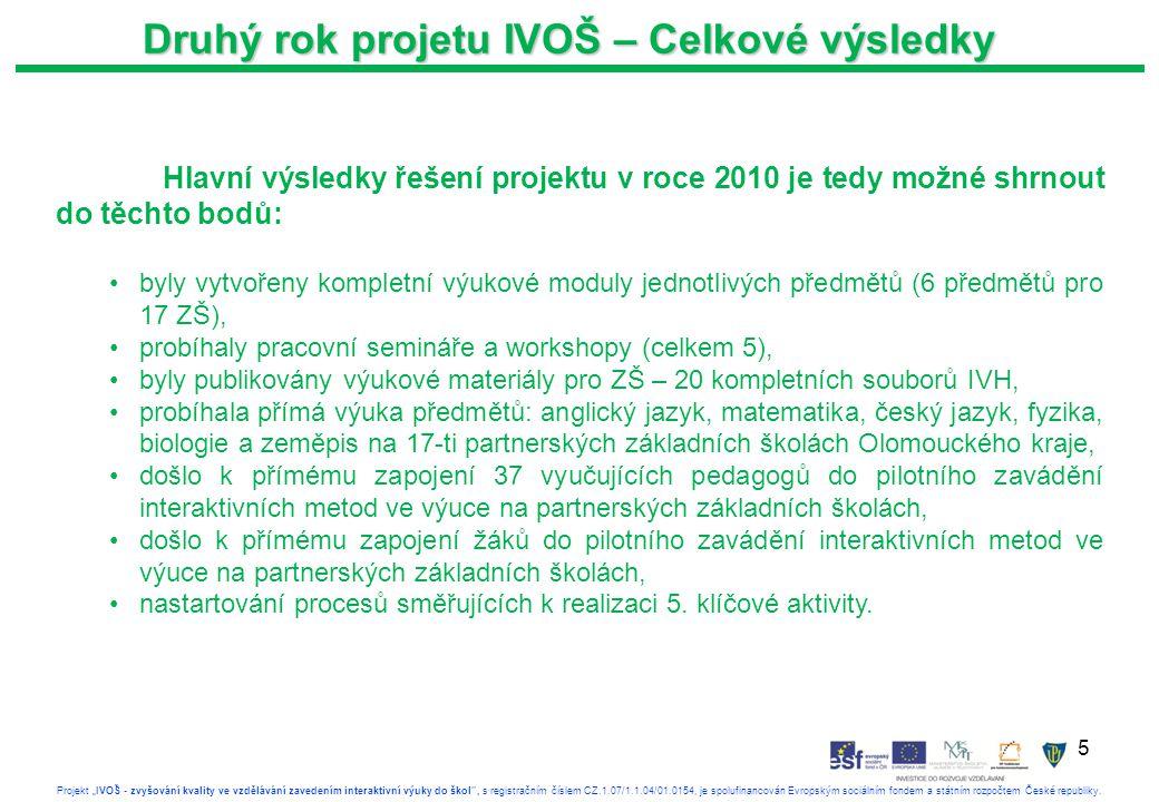 """5 Projekt """"IVOŠ - zvyšování kvality ve vzdělávání zavedením interaktivní výuky do škol , s registračním číslem CZ.1.07/1.1.04/01.0154, je spolufinancován Evropským sociálním fondem a státním rozpočtem České republiky."""