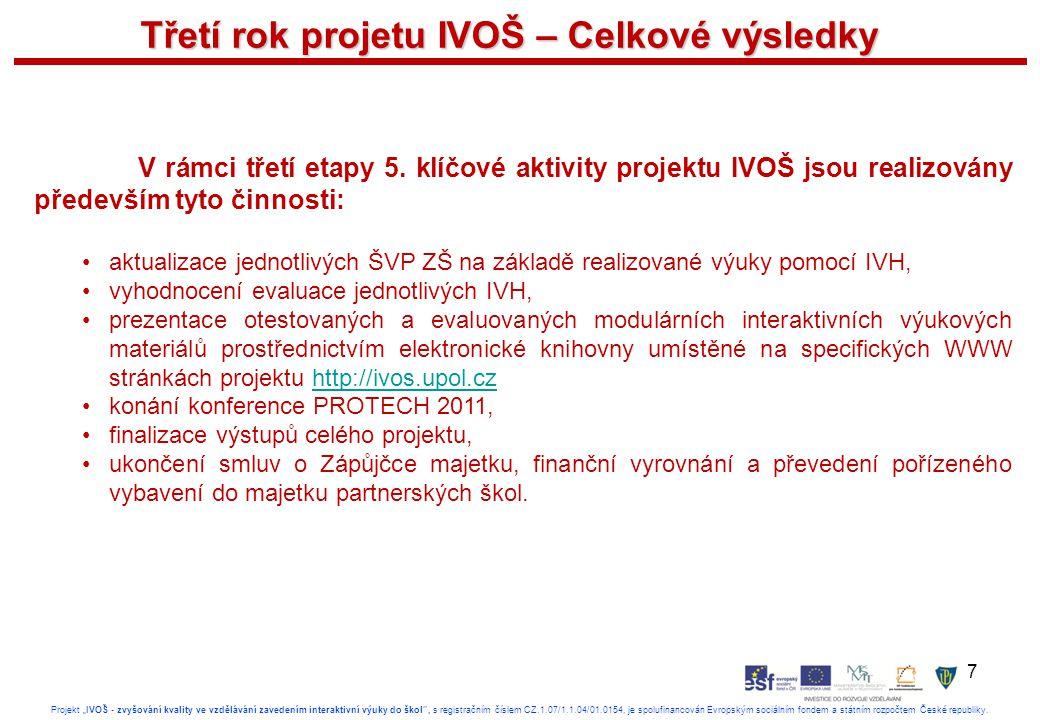 """7 Projekt """"IVOŠ - zvyšování kvality ve vzdělávání zavedením interaktivní výuky do škol , s registračním číslem CZ.1.07/1.1.04/01.0154, je spolufinancován Evropským sociálním fondem a státním rozpočtem České republiky."""