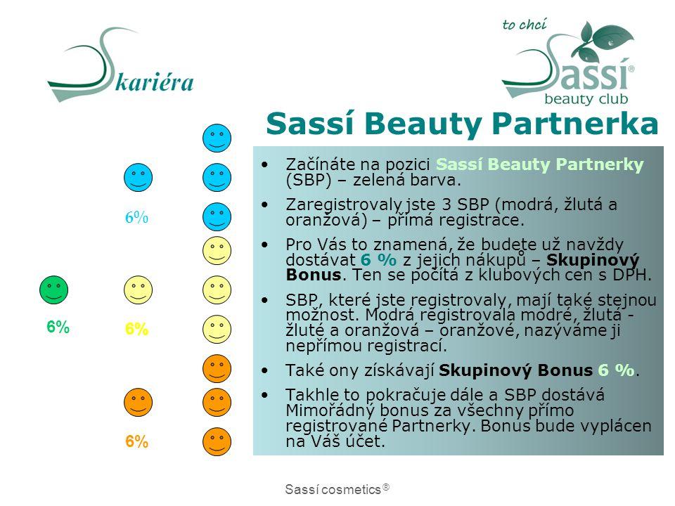 •Začínáte na pozici Sassí Beauty Partnerky (SBP) – zelená barva. •Zaregistrovaly jste 3 SBP (modrá, žlutá a oranžová) – přímá registrace. •Pro Vás to