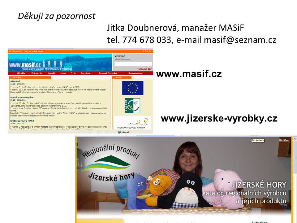 Děkuji za pozornost Jitka Doubnerová, manažer MASiF tel. 774 678 033, e-mail masif@seznam.cz www.masif.cz www.jizerske-vyrobky.cz