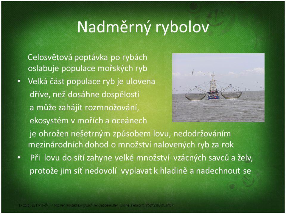 Nadměrný rybolov Celosvětová poptávka po rybách oslabuje populace mořských ryb • Velká část populace ryb je ulovena dříve, než dosáhne dospělosti a může zahájit rozmnožování, ekosystém v mořích a oceánech je ohrožen nešetrným způsobem lovu, nedodržováním mezinárodních dohod o množství nalovených ryb za rok • Při lovu do sítí zahyne velké množství vzácných savců a želv, protože jim síť nedovolí vyplavat k hladině a nadechnout se [1 - zdroj.
