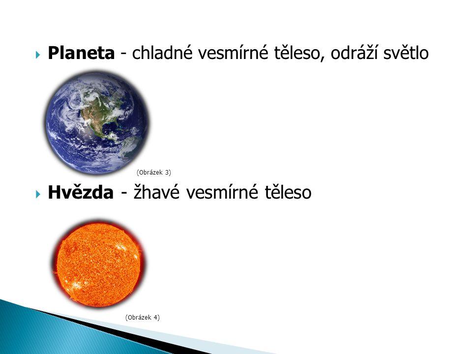  Planeta - chladné vesmírné těleso, odráží světlo  Hvězda - žhavé vesmírné těleso (Obrázek 3) (Obrázek 4)