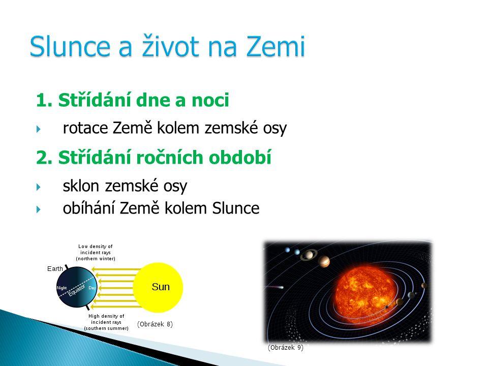 1.Střídání dne a noci  rotace Země kolem zemské osy 2.