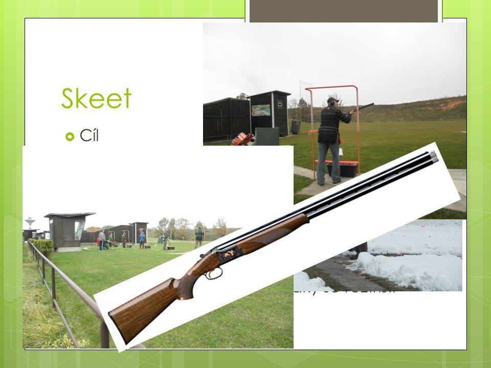  Cíl  Vysoká a nízká věž  8 pozic střelce  Terčů 25  jednostřel a dvojstřel  Zbraň  Jen jedna rána na terč  Zasažený holub je takový, jaký se roztříští http://youtube/GEd5a5E-dYs Náš reprezentant Jan Sychra Skeet
