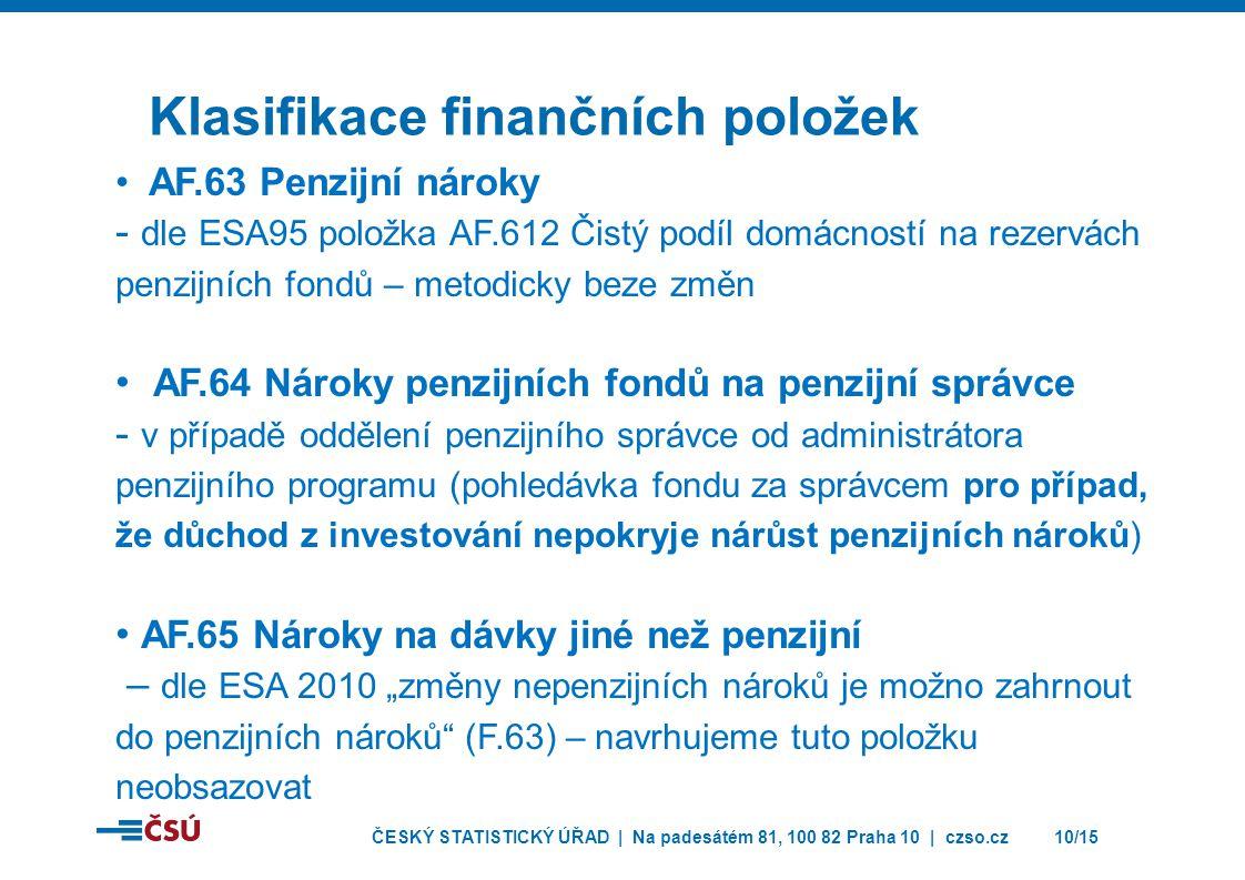 ČESKÝ STATISTICKÝ ÚŘAD | Na padesátém 81, 100 82 Praha 10 | czso.cz10/15 Klasifikace finančních položek • AF.63 Penzijní nároky - dle ESA95 položka AF