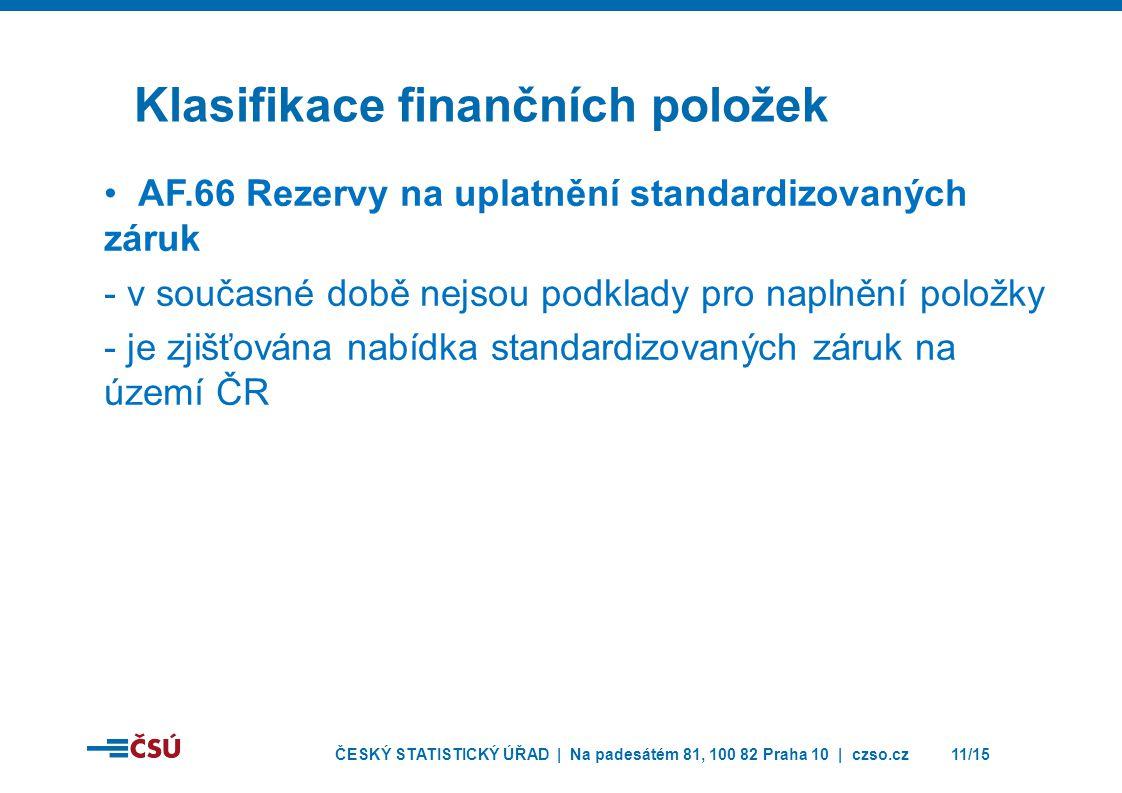 ČESKÝ STATISTICKÝ ÚŘAD | Na padesátém 81, 100 82 Praha 10 | czso.cz11/15 Klasifikace finančních položek • AF.66 Rezervy na uplatnění standardizovaných záruk - v současné době nejsou podklady pro naplnění položky - je zjišťována nabídka standardizovaných záruk na území ČR