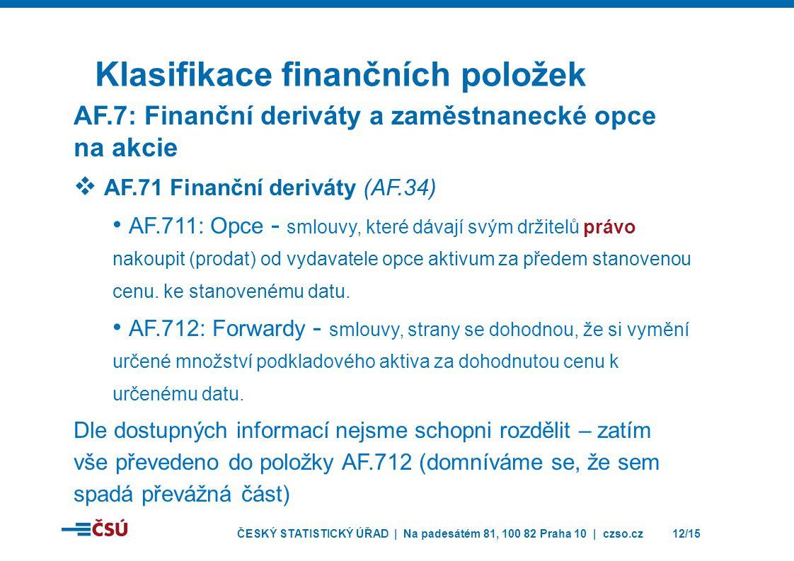ČESKÝ STATISTICKÝ ÚŘAD | Na padesátém 81, 100 82 Praha 10 | czso.cz12/15 Klasifikace finančních položek AF.7: Finanční deriváty a zaměstnanecké opce n