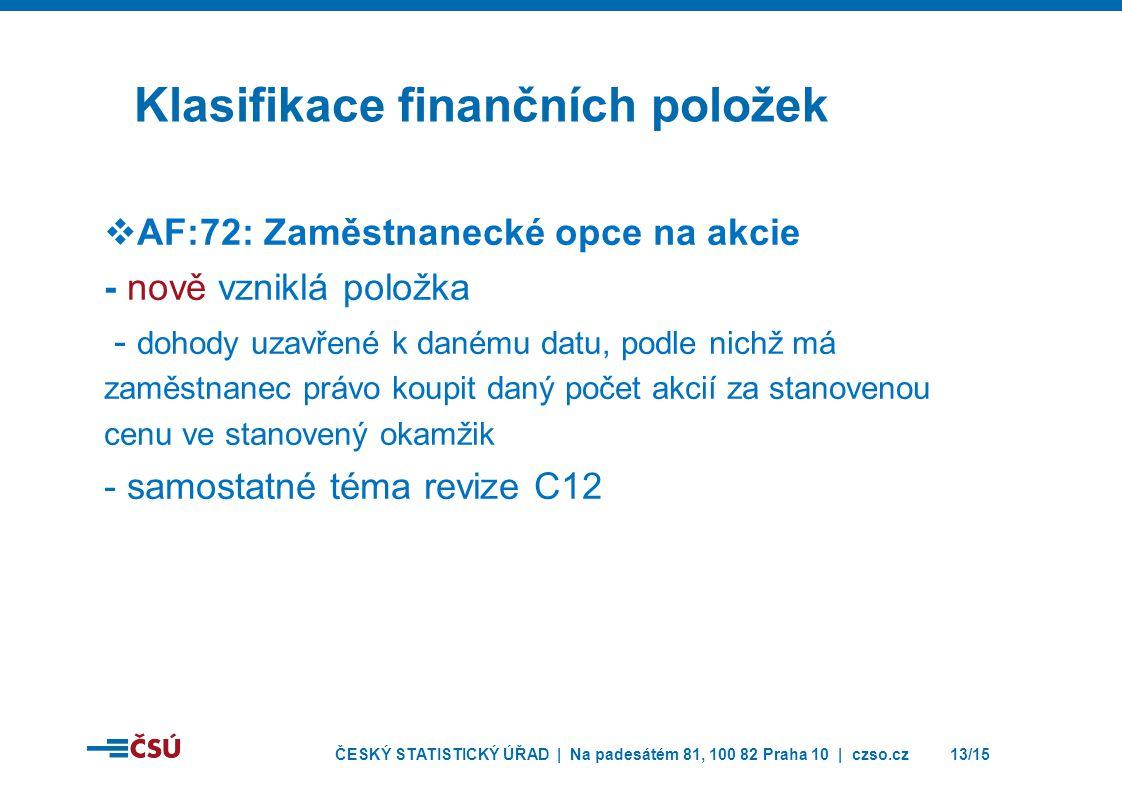 ČESKÝ STATISTICKÝ ÚŘAD | Na padesátém 81, 100 82 Praha 10 | czso.cz13/15 Klasifikace finančních položek  AF:72: Zaměstnanecké opce na akcie - nově vz