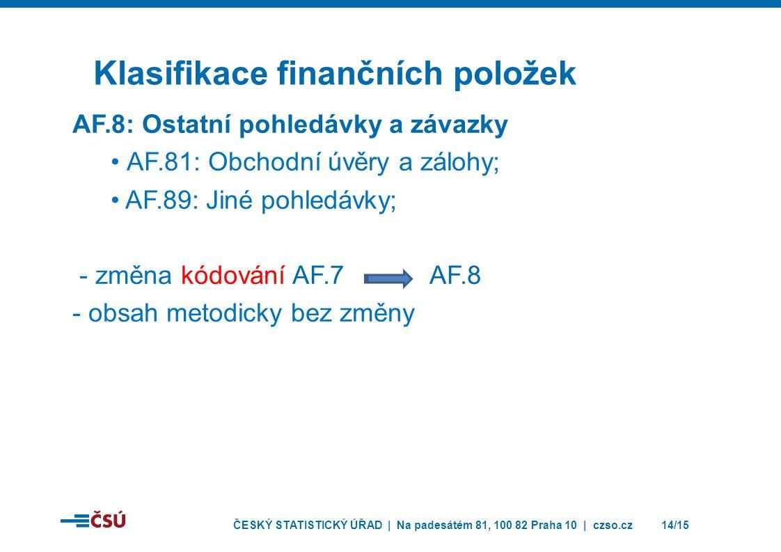 ČESKÝ STATISTICKÝ ÚŘAD | Na padesátém 81, 100 82 Praha 10 | czso.cz14/15 Klasifikace finančních položek AF.8: Ostatní pohledávky a závazky • AF.81: Obchodní úvěry a zálohy; • AF.89: Jiné pohledávky; - změna kódování AF.7 AF.8 - obsah metodicky bez změny