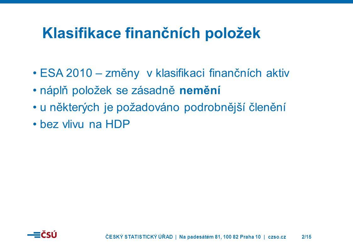 ČESKÝ STATISTICKÝ ÚŘAD | Na padesátém 81, 100 82 Praha 10 | czso.cz2/15 Klasifikace finančních položek • ESA 2010 – změny v klasifikaci finančních akt