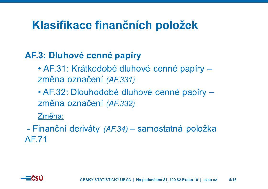 ČESKÝ STATISTICKÝ ÚŘAD | Na padesátém 81, 100 82 Praha 10 | czso.cz5/15 Klasifikace finančních položek AF.3: Dluhové cenné papíry • AF.31: Krátkodobé dluhové cenné papíry – změna označení (AF.331) • AF.32: Dlouhodobé dluhové cenné papíry – změna označení (AF.332) Změna: - Finanční deriváty (AF.34) – samostatná položka AF.71