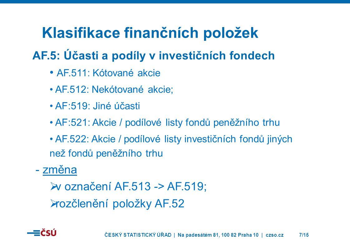 ČESKÝ STATISTICKÝ ÚŘAD | Na padesátém 81, 100 82 Praha 10 | czso.cz7/15 Klasifikace finančních položek AF.5: Účasti a podíly v investičních fondech • AF.511: Kótované akcie • AF.512: Nekótované akcie; • AF:519: Jiné účasti • AF:521: Akcie / podílové listy fondů peněžního trhu • AF.522: Akcie / podílové listy investičních fondů jiných než fondů peněžního trhu - změna  v označení AF.513 -> AF.519;  rozčlenění položky AF.52