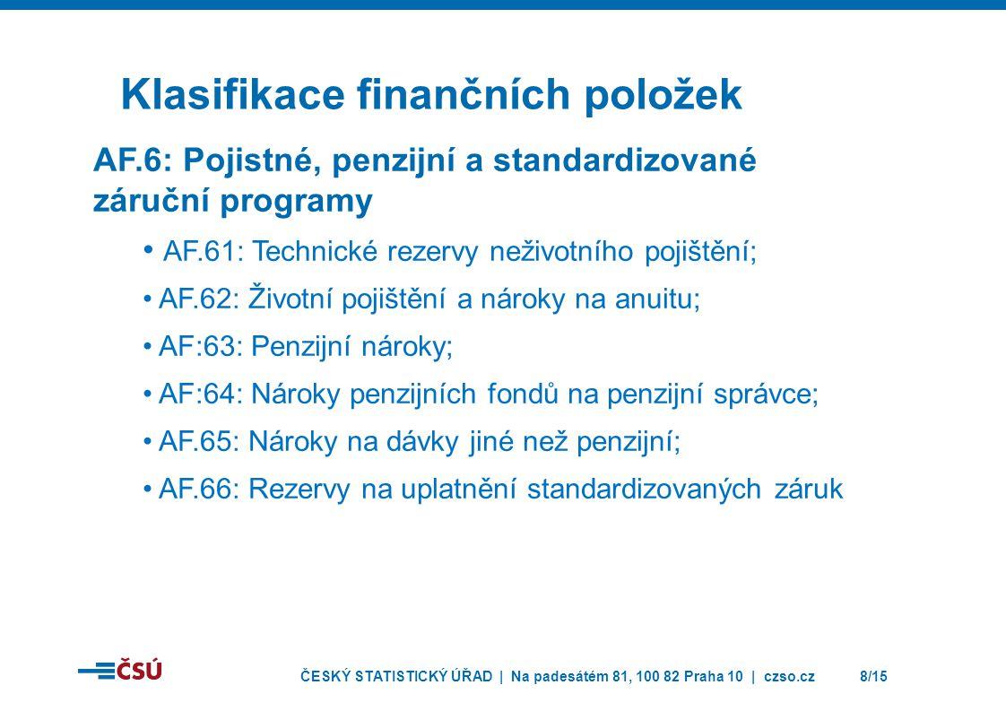 ČESKÝ STATISTICKÝ ÚŘAD | Na padesátém 81, 100 82 Praha 10 | czso.cz8/15 Klasifikace finančních položek AF.6: Pojistné, penzijní a standardizované záruční programy • AF.61: Technické rezervy neživotního pojištění; • AF.62: Životní pojištění a nároky na anuitu; • AF:63: Penzijní nároky; • AF:64: Nároky penzijních fondů na penzijní správce; • AF.65: Nároky na dávky jiné než penzijní; • AF.66: Rezervy na uplatnění standardizovaných záruk