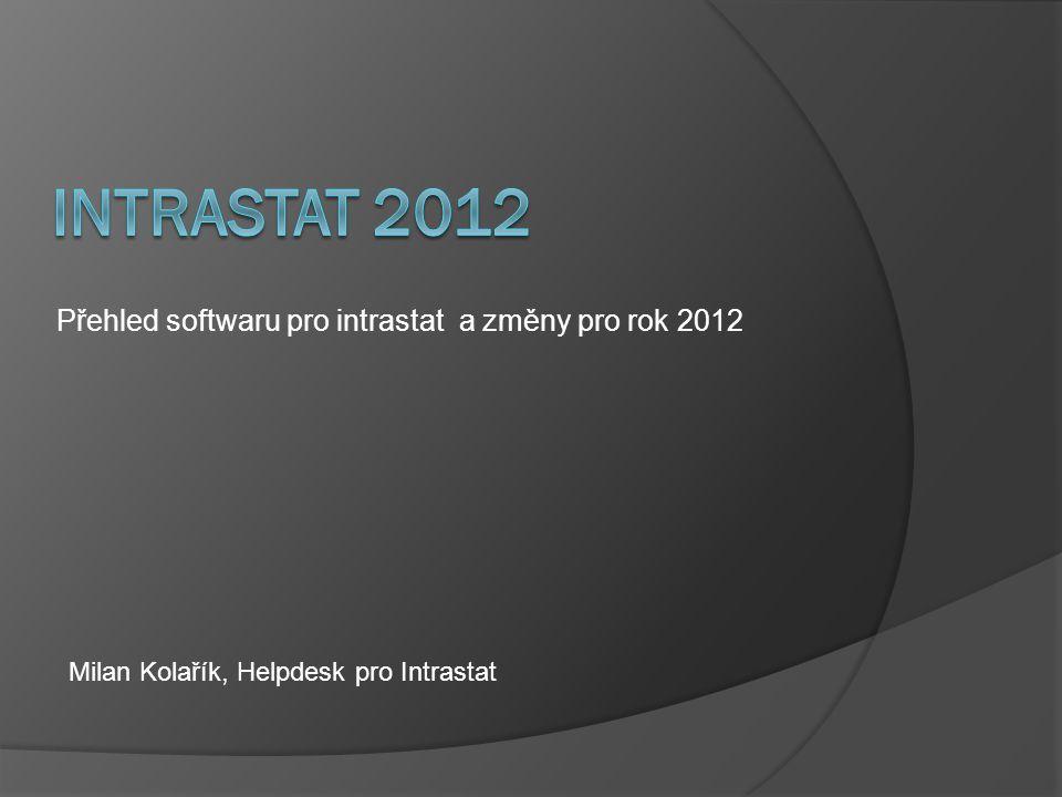 Přehled softwaru pro intrastat a změny pro rok 2012 Milan Kolařík, Helpdesk pro Intrastat
