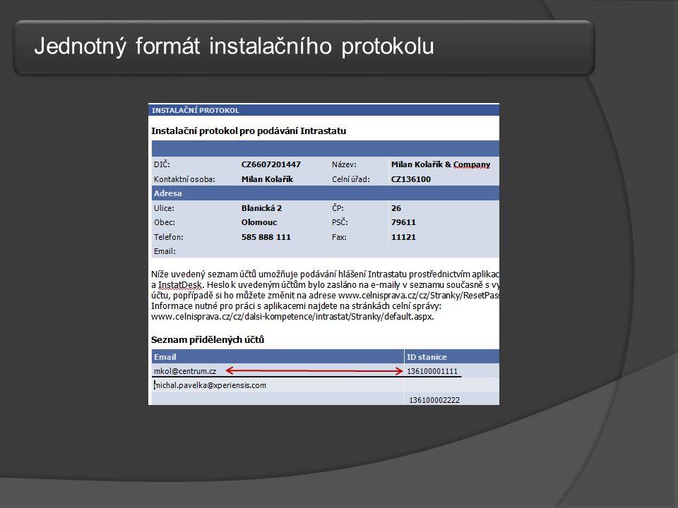 Jednotný formát instalačního protokolu