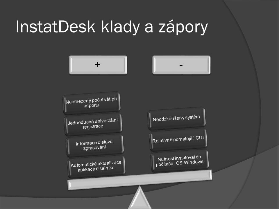 InstatDesk klady a zápory +- Automatické aktualizace aplikace číselníků Informace o stavu zpracování Jednoduchá univerzální registrace Neomezený počet