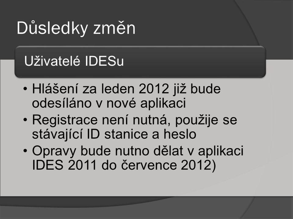 Důsledky změn •Hlášení za leden 2012 již bude odesíláno v nové aplikaci •Registrace není nutná, použije se stávající ID stanice a heslo •Opravy bude n