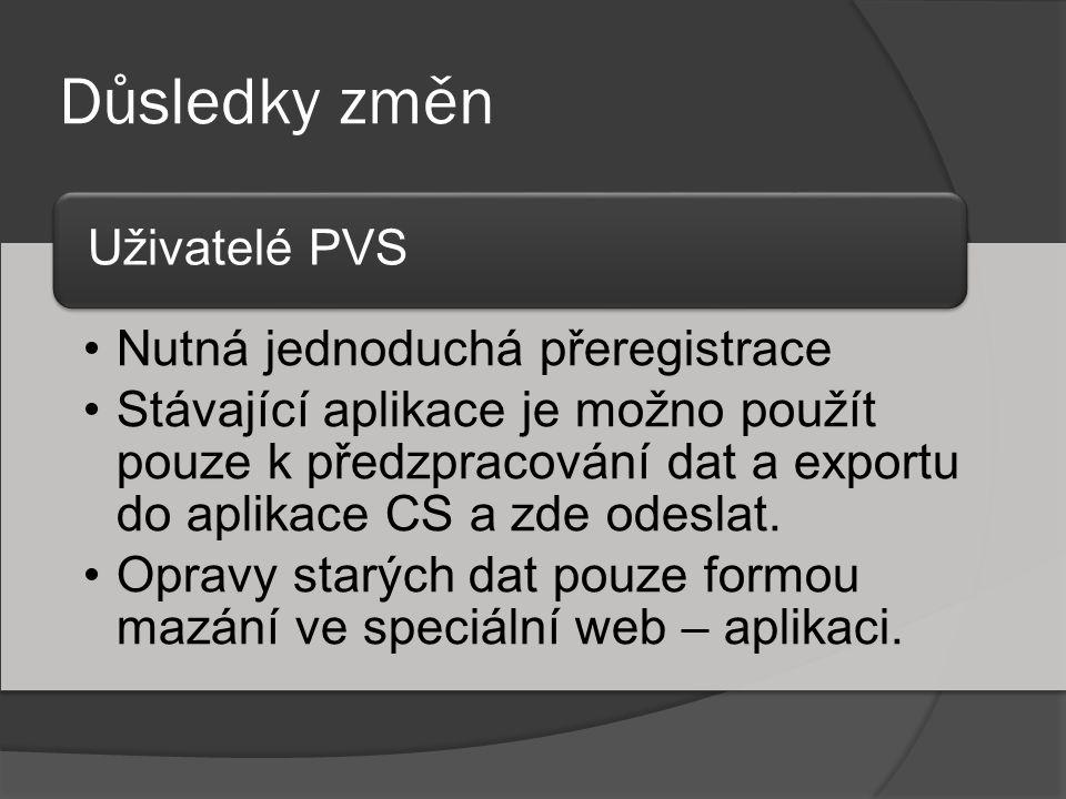 Důsledky změn •Nutná jednoduchá přeregistrace •Stávající aplikace je možno použít pouze k předzpracování dat a exportu do aplikace CS a zde odeslat. •