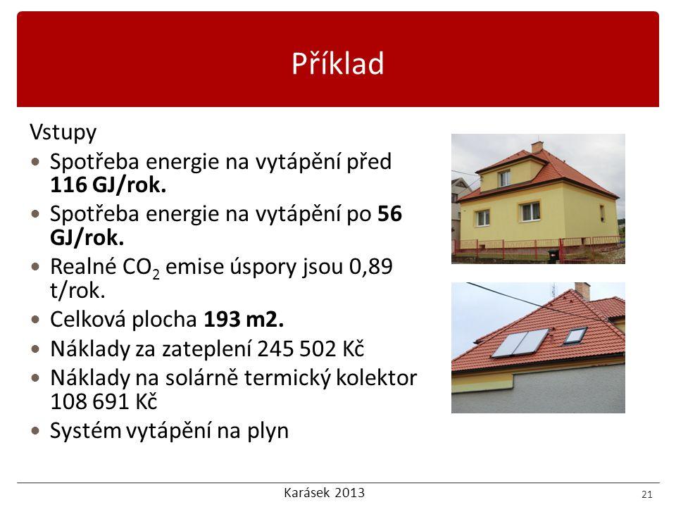 Karásek 2013 Vstupy  Spotřeba energie na vytápění před 116 GJ/rok.