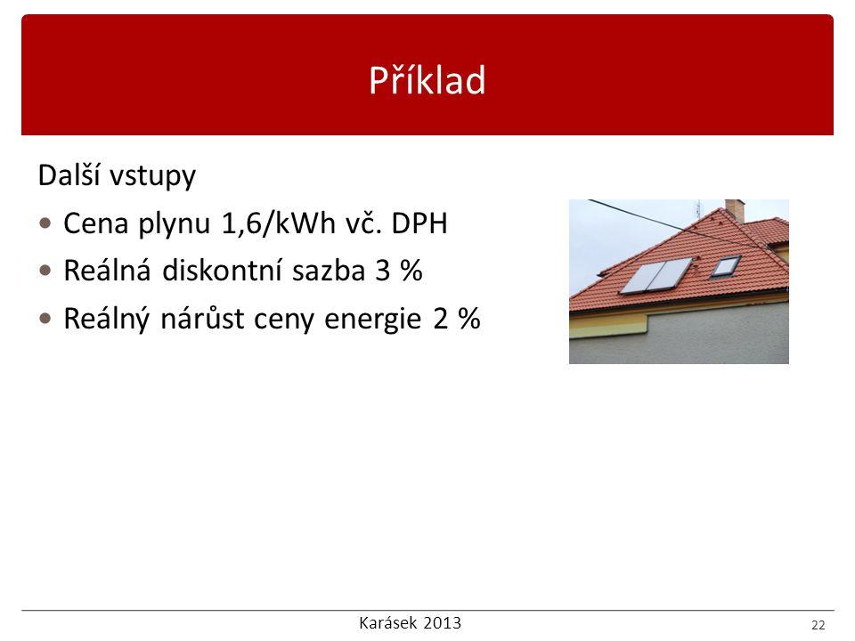 Karásek 2013 Příklad Další vstupy  Cena plynu 1,6/kWh vč.