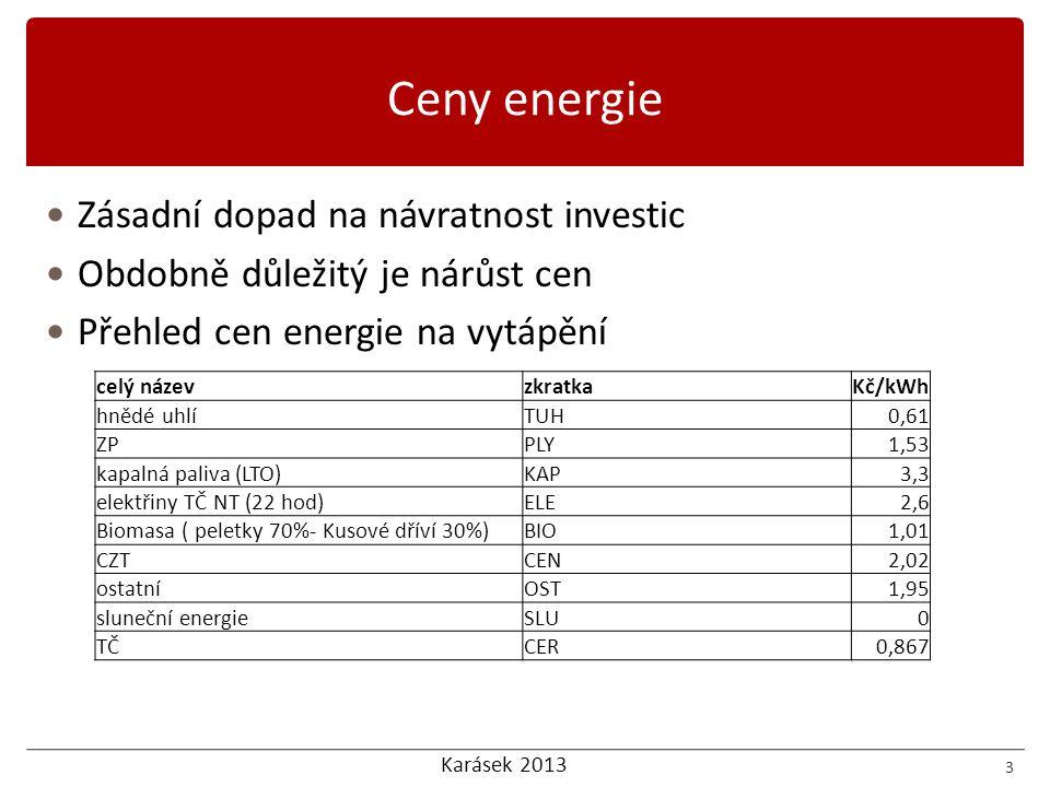 Karásek 2013 Diskontovaná doba návratnosti DPP Výhody  Zahrnuje faktor času  Údaj je názorný a porovnatelný (záleží na uvažované diskontní sazbě a růstu cen energie)  Nepočítá s konstantním CF Nevýhody  Nezahrnuje příjmy a výdaje za celou dobu investice  Nutné určit diskontní sazbu např.