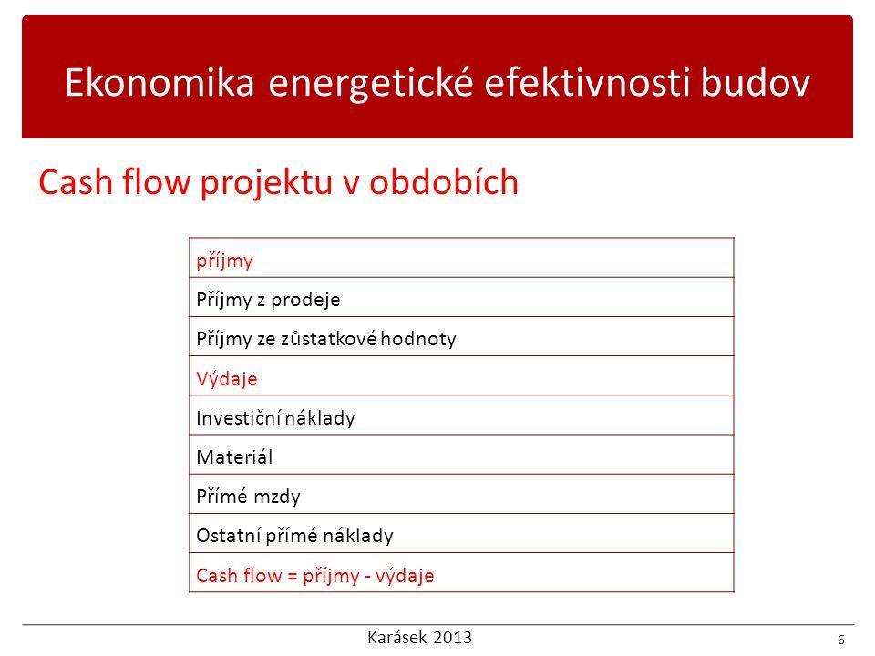 Karásek 2013 Cash flow projektu v obdobích 6 příjmy Příjmy z prodeje Příjmy ze zůstatkové hodnoty Výdaje Investiční náklady Materiál Přímé mzdy Ostatní přímé náklady Cash flow = příjmy - výdaje Ekonomika energetické efektivnosti budov