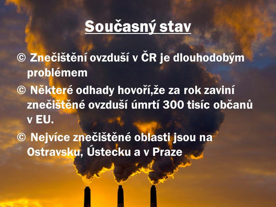 Současný stav © Znečištění ovzduší v ČR je dlouhodobým problémem © Některé odhady hovoří,že za rok zaviní znečištěné ovzduší úmrtí 300 tisíc občanů v