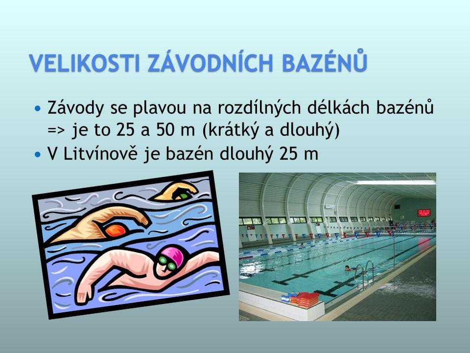 VELIKOSTI ZÁVODNÍCH BAZÉNŮ  Závody se plavou na rozdílných délkách bazénů => je to 25 a 50 m (krátký a dlouhý)  V Litvínově je bazén dlouhý 25 m