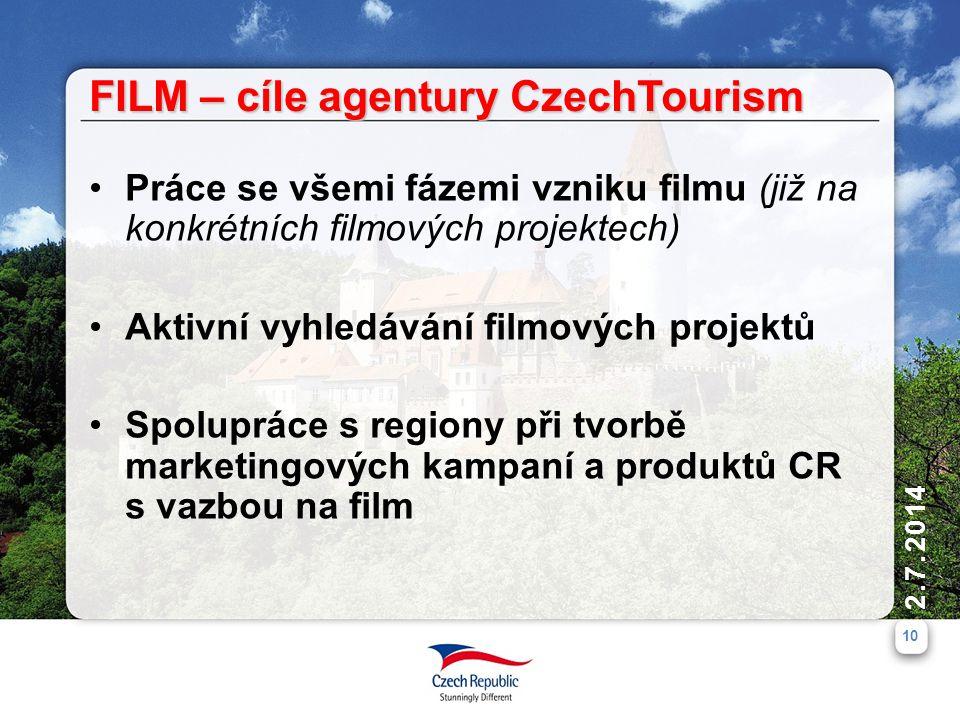 2.7.2014 10 FILM – cíle agentury CzechTourism •Práce se všemi fázemi vzniku filmu (již na konkrétních filmových projektech) •Aktivní vyhledávání filmových projektů •Spolupráce s regiony při tvorbě marketingových kampaní a produktů CR s vazbou na film