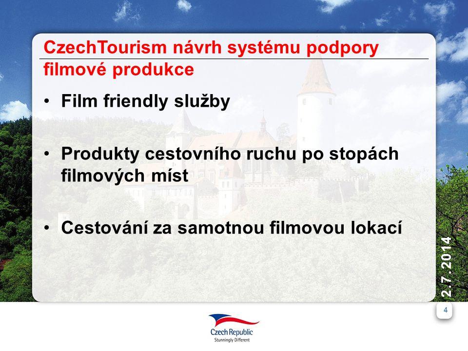 2.7.2014 4 •Film friendly služby •Produkty cestovního ruchu po stopách filmových míst •Cestování za samotnou filmovou lokací CzechTourism návrh systému podpory filmové produkce