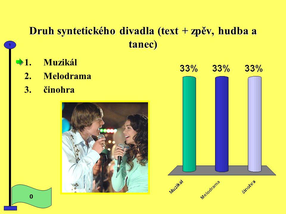 Druh syntetického divadla (text + zpěv, hudba a tanec) 0 5 1.Muzikál 2.Melodrama 3.činohra