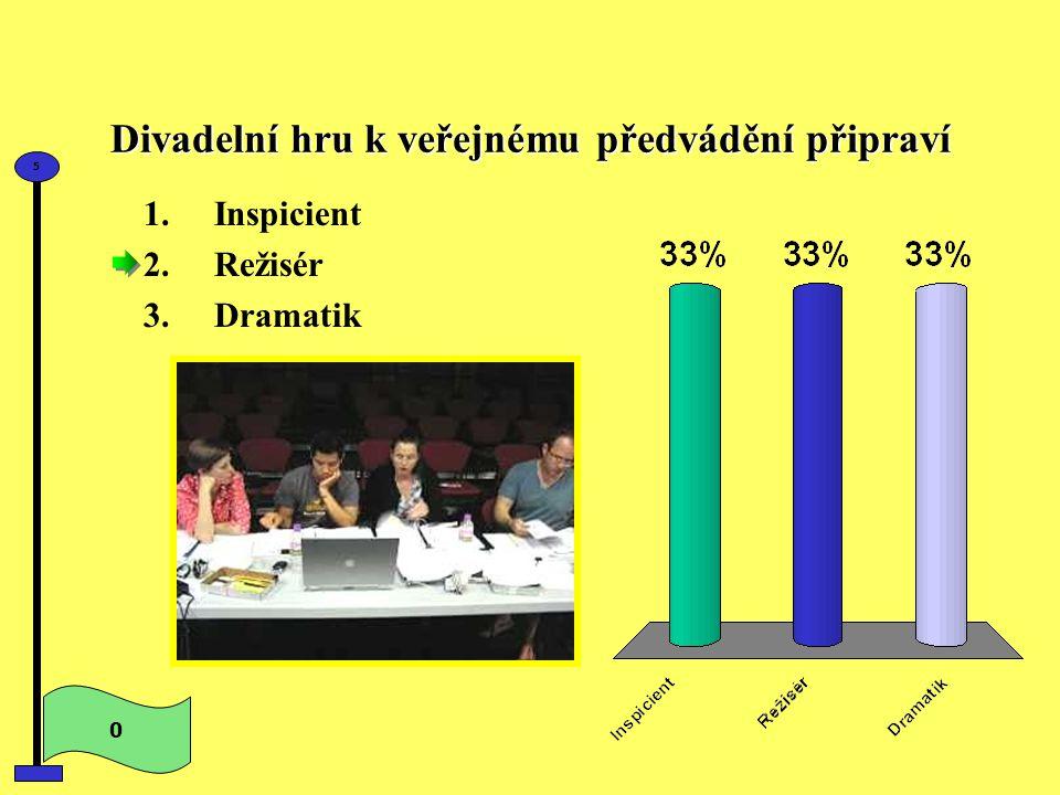 Divadelní hru k veřejnému předvádění připraví 0 5 1.Inspicient 2.Režisér 3.Dramatik
