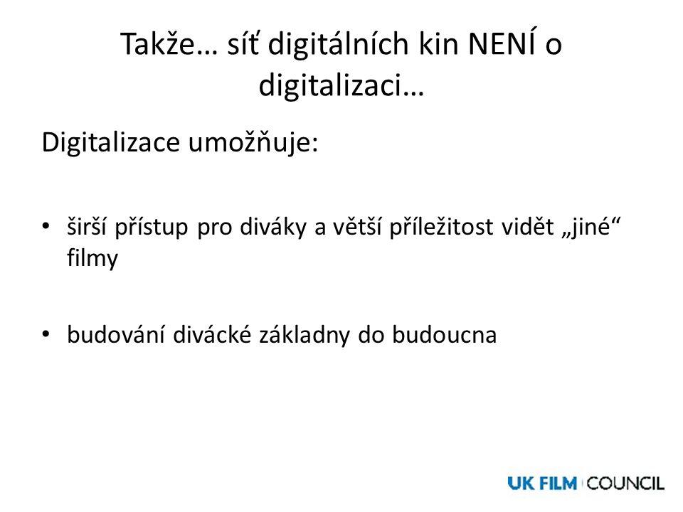 """Takže… síť digitálních kin NENÍ o digitalizaci… Digitalizace umožňuje: • širší přístup pro diváky a větší příležitost vidět """"jiné filmy • budování divácké základny do budoucna"""