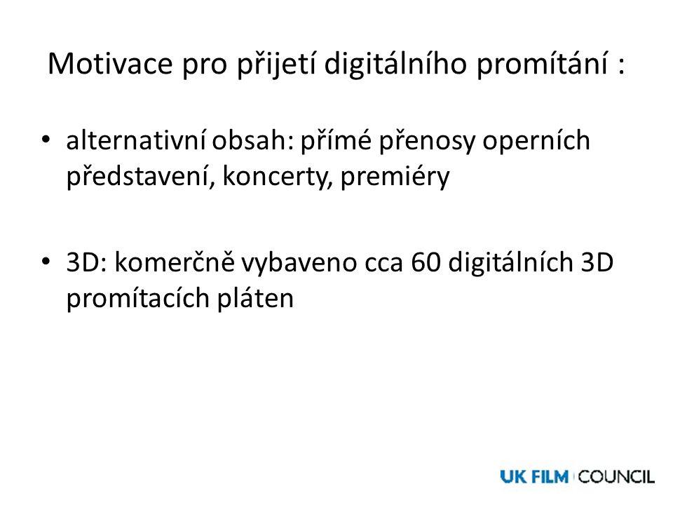 Motivace pro přijetí digitálního promítání : • alternativní obsah: přímé přenosy operních představení, koncerty, premiéry • 3D: komerčně vybaveno cca 60 digitálních 3D promítacích pláten