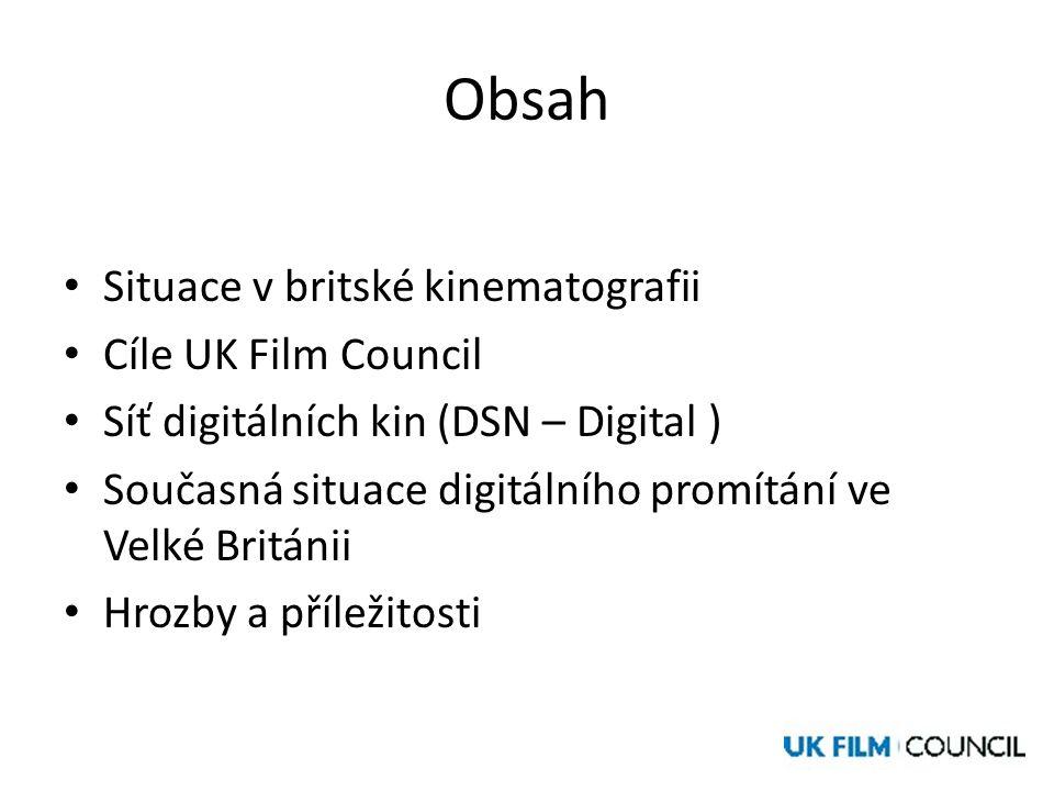 Obsah • Situace v britské kinematografii • Cíle UK Film Council • Síť digitálních kin (DSN – Digital ) • Současná situace digitálního promítání ve Velké Británii • Hrozby a příležitosti