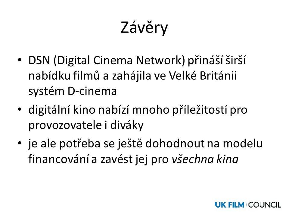 Závěry • DSN (Digital Cinema Network) přináší širší nabídku filmů a zahájila ve Velké Británii systém D-cinema • digitální kino nabízí mnoho příležitostí pro provozovatele i diváky • je ale potřeba se ještě dohodnout na modelu financování a zavést jej pro všechna kina