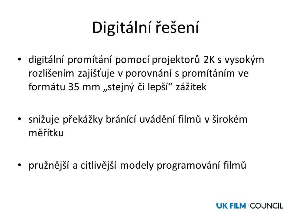 """Digitální řešení • digitální promítání pomocí projektorů 2K s vysokým rozlišením zajišťuje v porovnání s promítáním ve formátu 35 mm """"stejný či lepší zážitek • snižuje překážky bránící uvádění filmů v širokém měřítku • pružnější a citlivější modely programování filmů"""