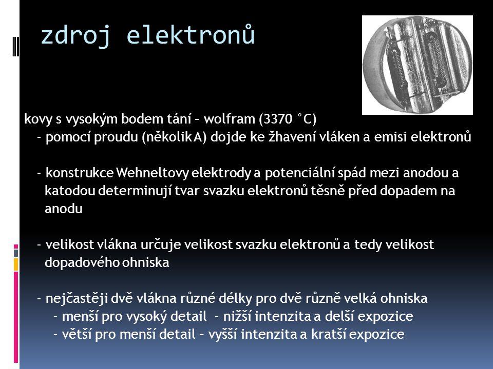 zdroj elektronů kovy s vysokým bodem tání – wolfram (3370 °C) - pomocí proudu (několik A) dojde ke žhavení vláken a emisi elektronů - konstrukce Wehne