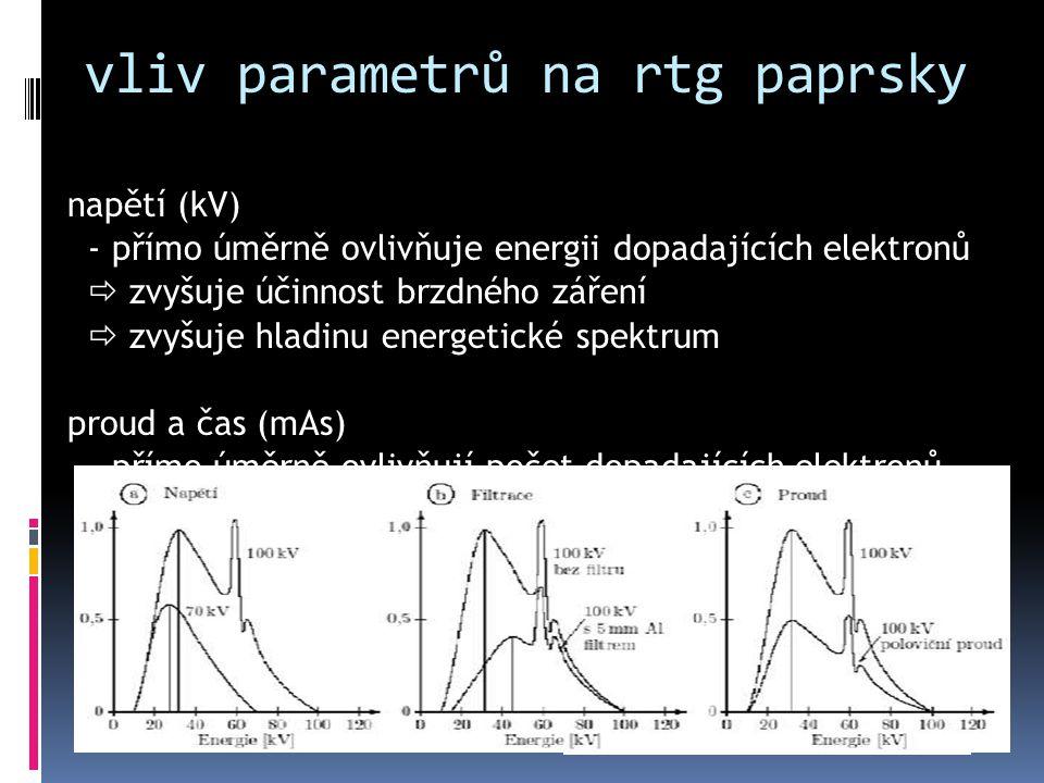 vliv parametrů na rtg paprsky napětí (kV) - přímo úměrně ovlivňuje energii dopadajících elektronů  zvyšuje účinnost brzdného záření  zvyšuje hladinu