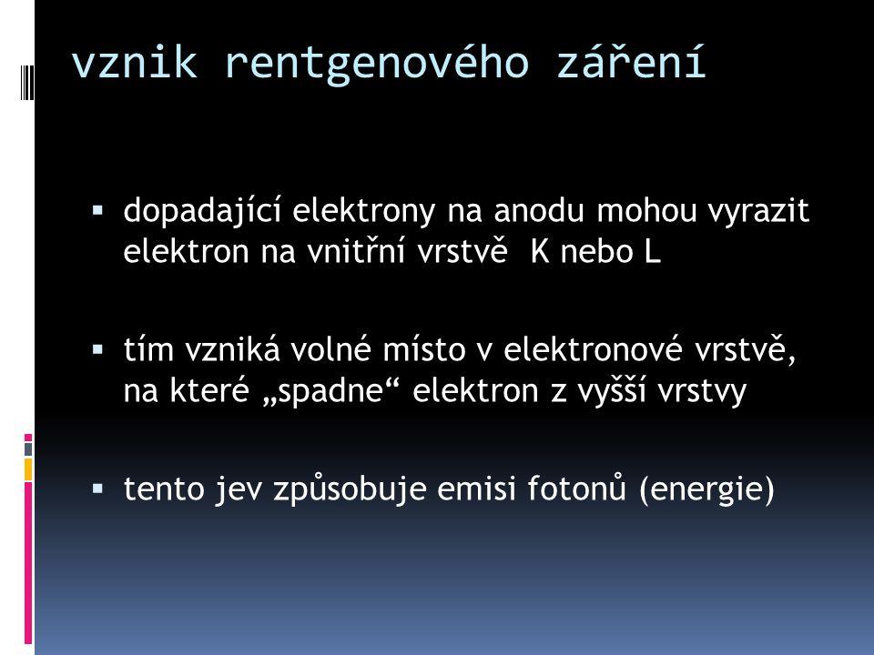 vznik rentgenového záření  dopadající elektrony na anodu mohou vyrazit elektron na vnitřní vrstvě K nebo L  tím vzniká volné místo v elektronové vrs