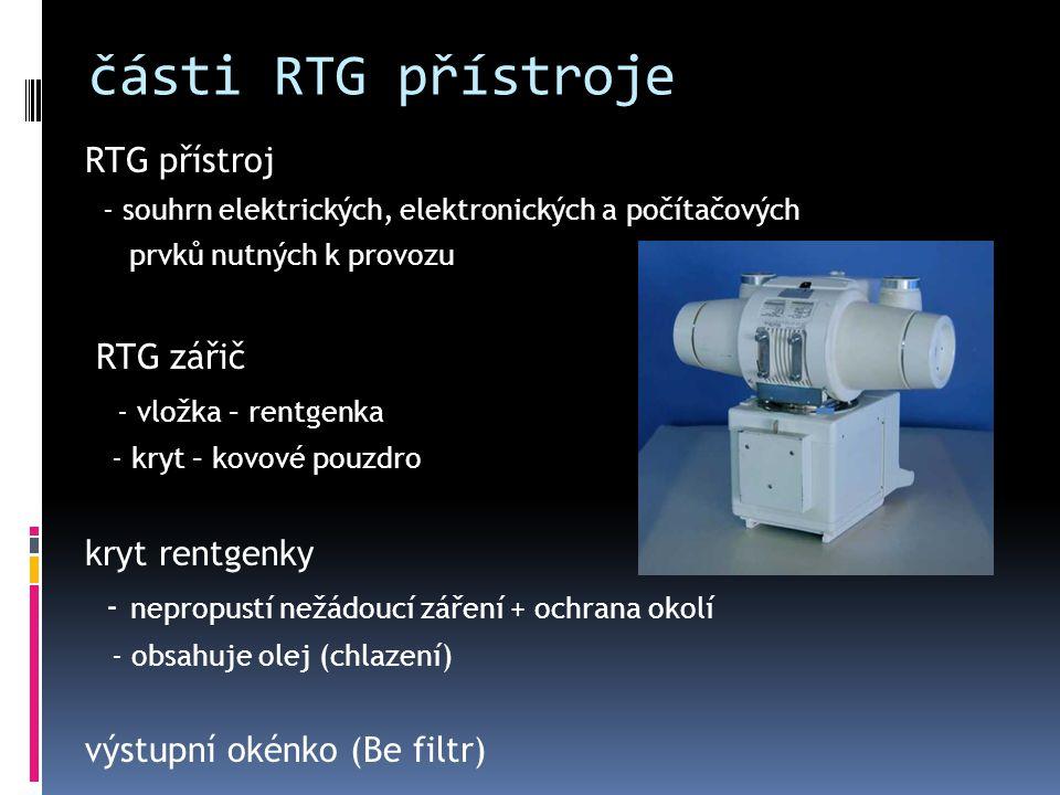 části RTG přístroje RTG přístroj - souhrn elektrických, elektronických a počítačových prvků nutných k provozu RTG zářič - vložka – rentgenka - kryt –