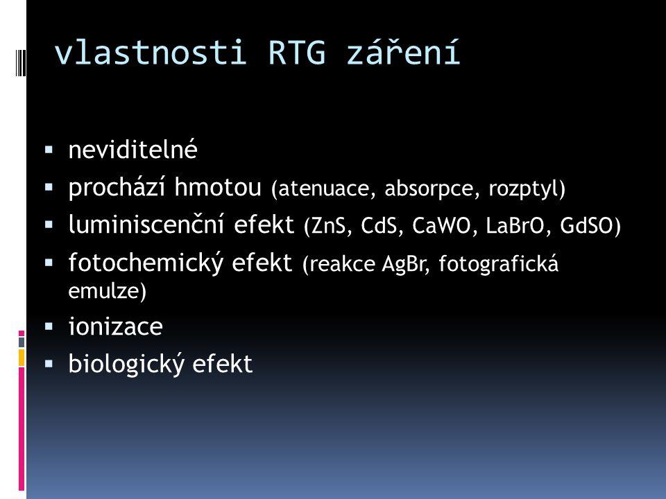 vlastnosti RTG záření  neviditelné  prochází hmotou (atenuace, absorpce, rozptyl)  luminiscenční efekt (ZnS, CdS, CaWO, LaBrO, GdSO)  fotochemický