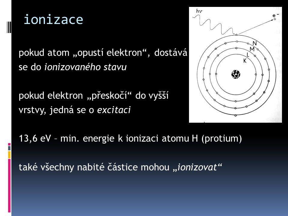 """ionizace pokud atom """"opustí elektron"""", dostává se do ionizovaného stavu pokud elektron """"přeskočí"""" do vyšší vrstvy, jedná se o excitaci 13,6 eV – min."""