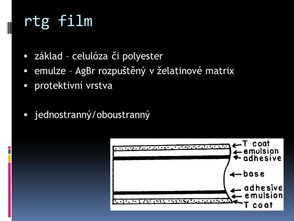 rtg film  základ – celulóza či polyester  emulze – AgBr rozpuštěný v želatinové matrix  protektivní vrstva  jednostranný/oboustranný
