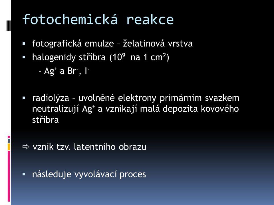 fotochemická reakce  fotografická emulze – želatinová vrstva  halogenidy stříbra (10 9 na 1 cm 2 ) - Ag + a Br -, I -  radiolýza – uvolněné elektro